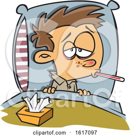 Clipart of a Cartoon White Boy Sick with the Flu - Royalty Free Vector Illustration by toonaday