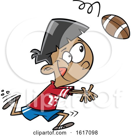 Clipart of a Cartoon Boy Catching a Football - Royalty Free Vector Illustration by toonaday