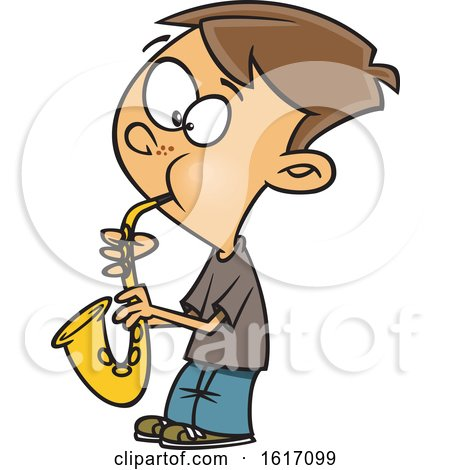 Clipart of a Cartoon White Boy Playing a Saxophone - Royalty Free Vector Illustration by toonaday