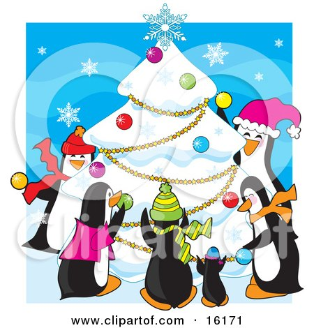 Group Of Happy Penguins Wearing Scarves And Hats While Decorating A Snow Flocked Christmas Tree With Ornaments, Garlands And A Snowflake At The Top Clipart Illustration Image by Maria Bell
