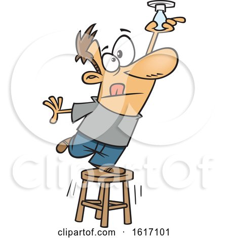 Clipart of a Cartoon White Man Balancing on a Stool to Change a Light Bulb - Royalty Free Vector Illustration by toonaday