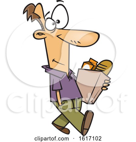 Clipart of a Cartoon White Man Walking and Carrying a Bag of Groceries - Royalty Free Vector Illustration by toonaday