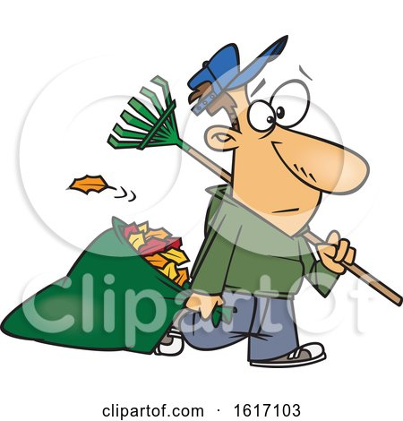 Clipart of a Cartoon White Man Carrying a Rake and Pulling Al Leaf Bag - Royalty Free Vector Illustration by toonaday