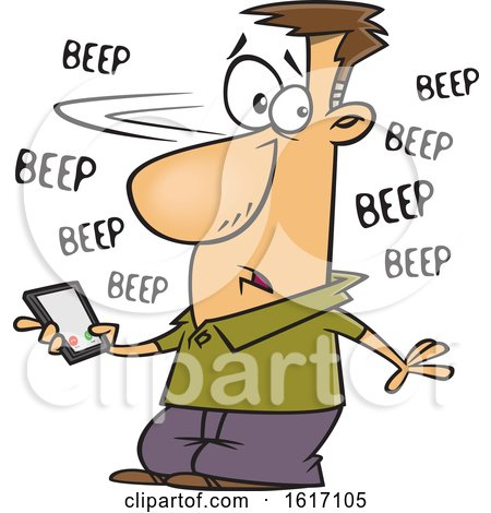 Clipart of a Cartoon White Man Holding a Cell Phone That Is Beeping with Messages - Royalty Free Vector Illustration by toonaday