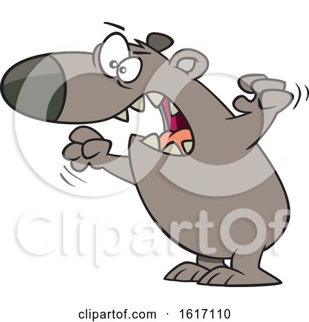 Clipart of a Cartoon Angry Mama Bear - Royalty Free Vector Illustration by toonaday
