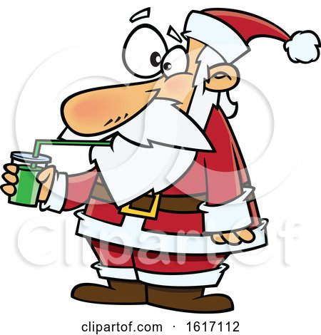 Clipart of a Cartoon Santa Drinking a Green Smoothie - Royalty Free Vector Illustration by toonaday