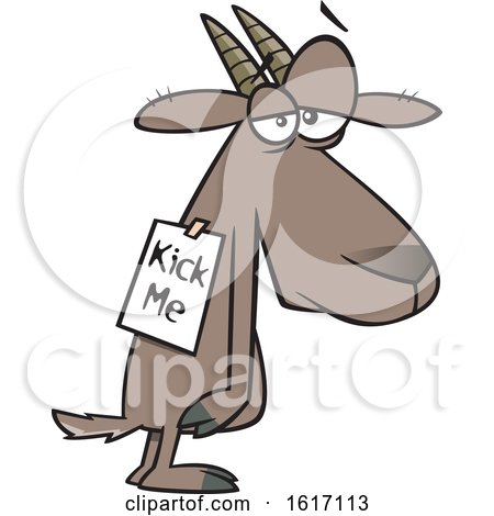 Clipart of a Cartoon Depressed Bullied Goat Wearing a Kick Me Sign - Royalty Free Vector Illustration by toonaday