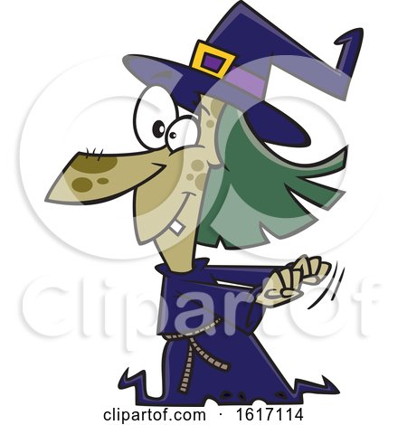 Clipart of a Cartoon Witch Dancing - Royalty Free Vector Illustration by toonaday