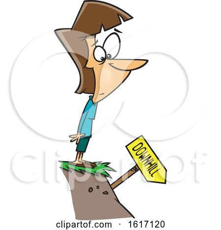 Clipart of a Cartoon White Woman Standing on a Cliff and Looking at a Downhill Sign - Royalty Free Vector Illustration by toonaday