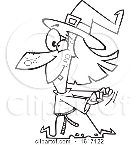 Clipart of a Cartoon Black and White Witch Dancing - Royalty Free Vector Illustration by toonaday