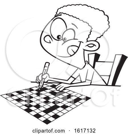 Clipart of a Cartoon Black and White Black Boy Doing a Crossword Puzzle - Royalty Free Vector Illustration by toonaday