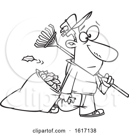 Clipart of a Cartoon Black and White Man Carrying a Rake and Pulling Al Leaf Bag - Royalty Free Vector Illustration by toonaday