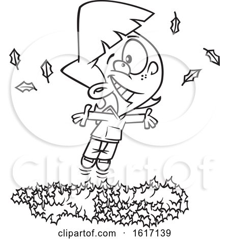 Clipart of a Cartoon Black and White Girl Playing in a Pile of Autumn Leaves - Royalty Free Vector Illustration by toonaday