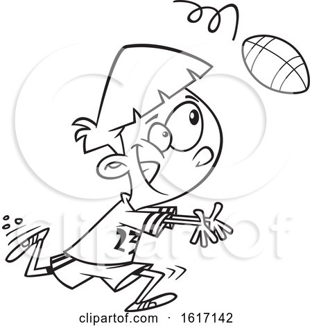 Clipart of a Cartoon Black and White Boy Catching a Football - Royalty Free Vector Illustration by toonaday