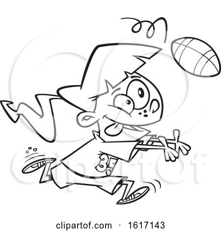 Clipart of a Cartoon Black and White Girl Catching a Football - Royalty Free Vector Illustration by toonaday