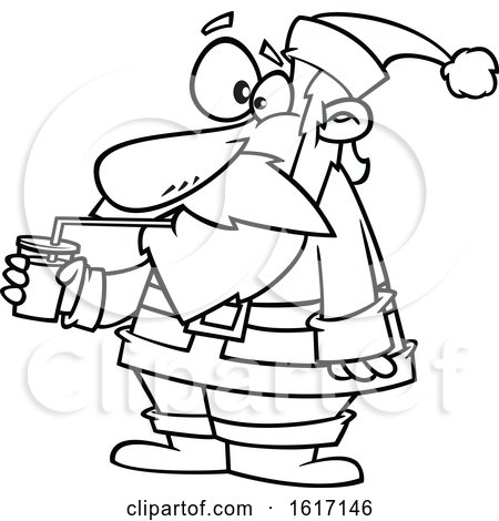 Clipart of a Cartoon Black and White Santa Drinking a Smoothie - Royalty Free Vector Illustration by toonaday