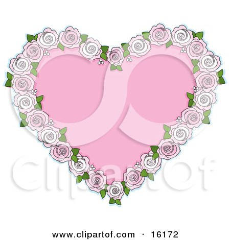 Pink Heart Bordered By Pale Pink And White Roses For An Anniversary Or Valentine Posters, Art Prints