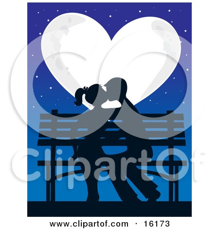Silhouetted Romantic Couple Kissing And Making Out While Sitting On A Bench Under The Stars In Front Of A Full Heart Shaped Moon On Valentine's Day Clipart Illustration Image by Maria Bell