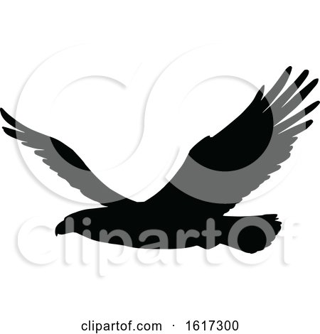 Silhouetted Flying Eagle by Vector Tradition SM