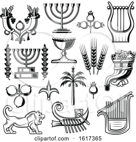 Black and White Jewish Icons by Vector Tradition SM