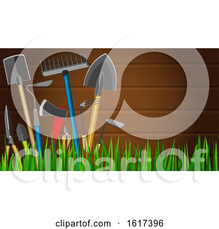 Wood Background with Garden Tools by Vector Tradition SM
