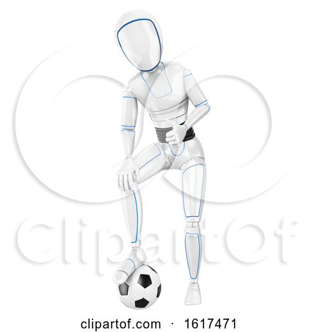 3d Humanoid Robot Resting a Foot on a Soccer Ball, on a White Background by Texelart