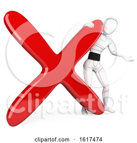 3d Humanoid Robot with an X Mark, on a White Background by Texelart