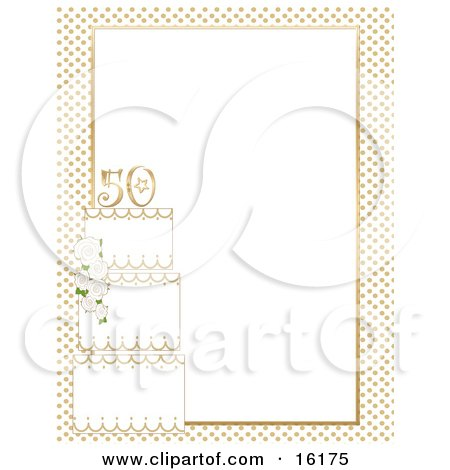 Three Teired Cake Decorated With White Roses And Topped With The Number 50 With A Border Of Golden Dots And A White Background For A 50th Wedding Anniversary Clipart Illustration Image by Maria Bell
