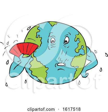 Planet Earth with Fan Fanning Itself to Keep Cool by patrimonio