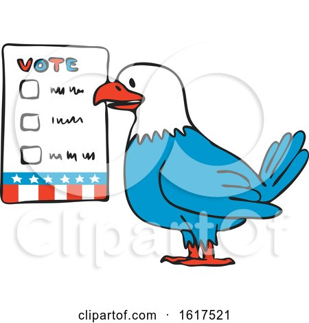 American Bald Eagle About to Vote Beside Election Ballot by patrimonio