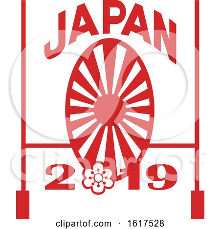 Rugby Goal Post and Japanese Sakura and Rising Sun with Words Japan 2019 by patrimonio