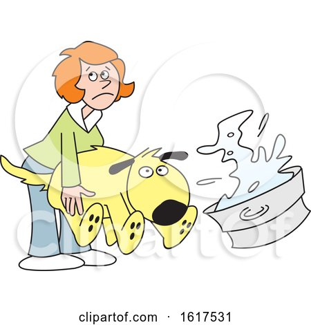 Cartoon Red Haired White Woman Bathing a Dog by Johnny Sajem