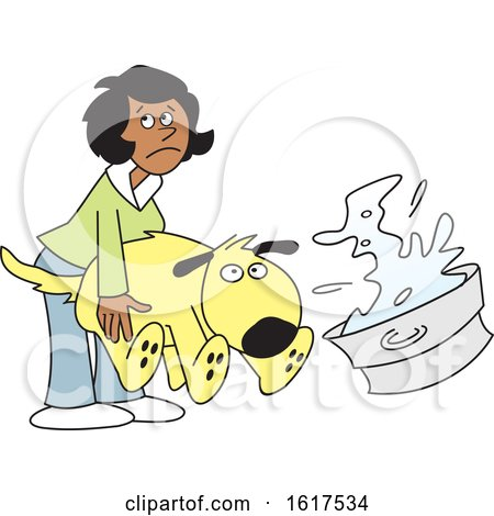 Cartoon Black Woman Bathing a Dog by Johnny Sajem