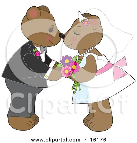 Cute Teddy Bear Bride And Groom Couple Kissing And Rubbing Noses At Their Wedding Posters, Art Prints