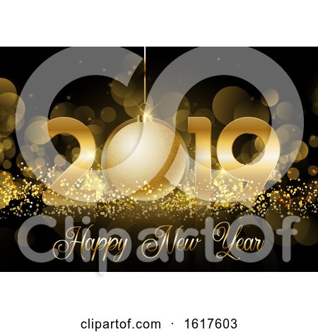 Happy New Year Bauble Background Posters, Art Prints