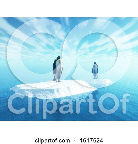 3D Penguins on Floating Ice by KJ Pargeter