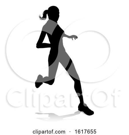 Runner Racing Track and Field Silhouette by AtStockIllustration