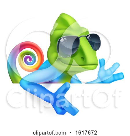 Chameleon Cool Cartoon in Shades Pointing at Sign by AtStockIllustration