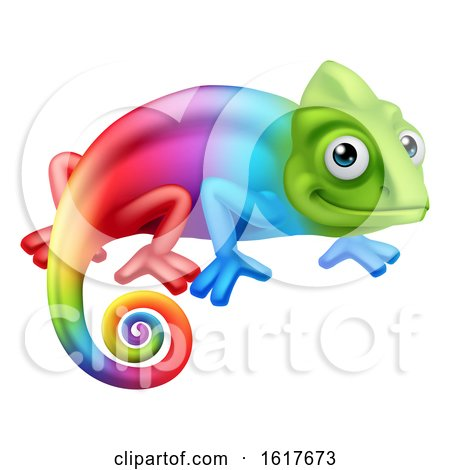 Chameleon Lizard Cartoon Character by AtStockIllustration