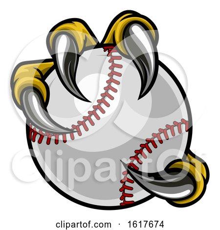 Eagle Bird Monster Claw Holding Baseball Ball by AtStockIllustration