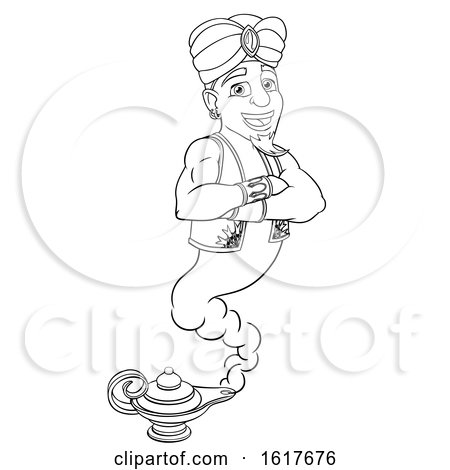 Genie Aladdin Magic Lamp Pantomime Cartoon by AtStockIllustration