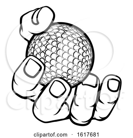 Hand Holding Golf Ball by AtStockIllustration