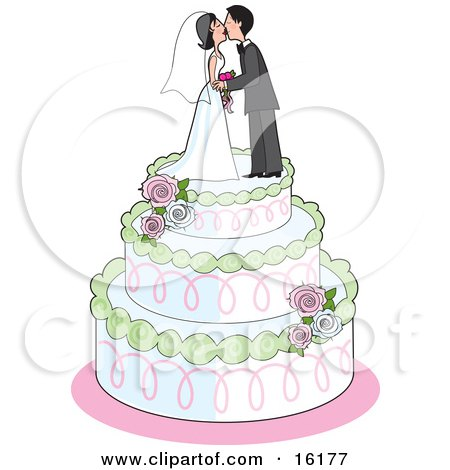 Sweet Bride And Groom Kissing On Top Of A Three Tiered White Wedding Cake With Green Trim, Pink Swirls, White Frosting And Pink And White Roses Clipart Illustration Image by Maria Bell