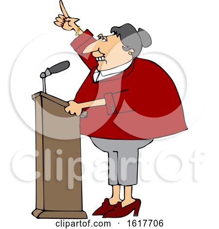Cartoon White Female Politician at a Podium by djart