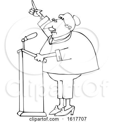 Cartoon Black and White Female Politician at a Podium by djart