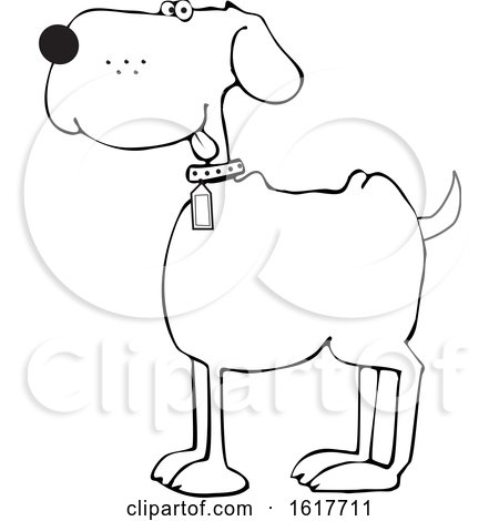 Cartoon Happy Black and White Dog by djart