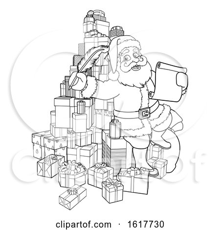 Santa Claus Checking Christmas Gift List Cartoon by AtStockIllustration