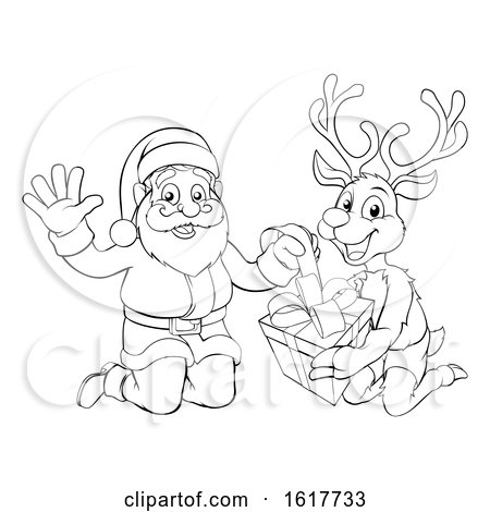 Santa and His Reindeer Opening Christmas Gift by AtStockIllustration