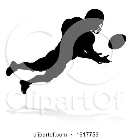 Silhouette American Football Player, on a white background by AtStockIllustration
