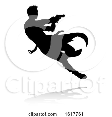 Action Movie Shoot out Person Silhouette, on a white background by AtStockIllustration